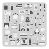 Вектор плоских значков, очищая комплект Стоковое Изображение