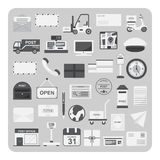 Вектор плоских значков, почтовой службы и комплекта почтового отделения Стоковое Изображение RF