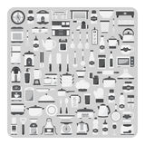 Вектор плоских значков, современного комплекта комнаты кухни, мебели и kitchenware Стоковые Изображения RF