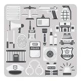 Вектор плоского значка, комплекта полиции Стоковая Фотография RF