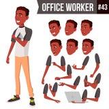 Вектор работника офиса Эмоции стороны, африканец, черный Различные жесты Комплект творения анимации портрет персоны счастья бизне иллюстрация штока