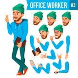 Вектор работника офиса Эмоции стороны, различные жесты Комплект творения анимации Персона бизнесмена Сь экзекьютив иллюстрация штока