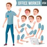 Вектор работника офиса Эмоции стороны, различные жесты сердитой Работник дела карьера Профессиональный рабочий класс, офицер бесплатная иллюстрация
