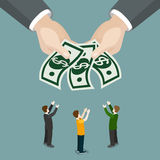 Вектор равновеликое 3d дела зарплаты благосостояния милостынь призрения плоский Стоковая Фотография