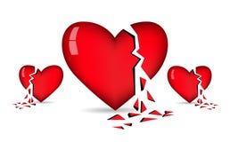 Вектор разбитых сердец Стоковые Фото