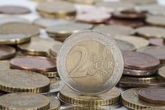 вектор разрешения имеющегося евро монетки 2 высокий очень Стоковые Фотографии RF