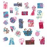 вектор различного подарка 3 цветов коробок установленный Стоковое Изображение