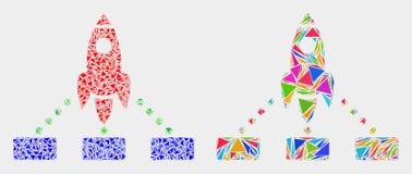 Вектор Ракета соединяет значок мозаики треугольников иллюстрация штока
