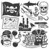 вектор растра пирата иллюстрации установленный иллюстрация вектора