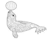Вектор расцветки морского котика для взрослых иллюстрация штока