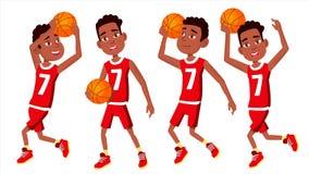 Вектор ребенка баскетболиста установленный В действии Спортсмен в форме с шариком Стикеры действия команды спорт игры изолировано бесплатная иллюстрация