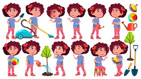 Вектор ребенк детского сада девушки установленный представлениями preschool Молодой человек жизнерадостно Для сети, брошюра, диза иллюстрация вектора