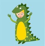 Вектор ребенк крокодила дракона изолированный костюмом бесплатная иллюстрация