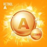 Вектор ретинола Витамина A Значок пилюльки масла золота витамина Органический значок пилюльки золота витамина Капсула Для красоты иллюстрация штока