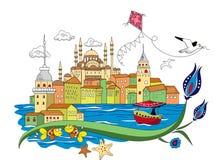 Вектор ретро винтажный Стамбул города Стоковая Фотография RF