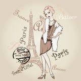 Вектор ретро Париж Девушка Fashinable иллюстрация вектора