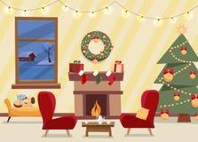 Вектор рождества плоский украшенной живущей комнаты Уютный домашний интерьер с мебелью, креслами, окном к вечеру зимы иллюстрация штока