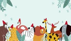 Вектор рождественской открытки животной темы веселый иллюстрация вектора