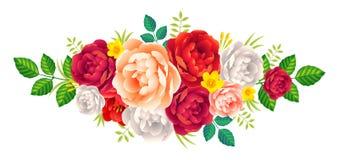 Вектор розовый и пионы цветут украшение букета винтажное романтичное на белой предпосылке Стоковое Изображение
