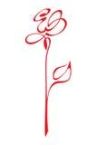вектор розы красного цвета стилизованный Стоковое Изображение RF