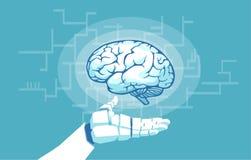Вектор руки робота держа рассматривая человеческий мозг иллюстрация вектора
