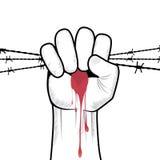 Вектор руки сжатого кулака. иллюстрация штока