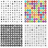100 вектор рукопожатия установленный значками различный Стоковое Изображение