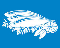 вектор рыб посоленный лимоном Стоковое фото RF