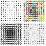 100 вектор салона красоты установленный значками различный Стоковые Фотографии RF
