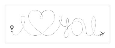 Вектор самолета любов перемещения сердца любит линию воздух линейного маршрута значка романтичную брошенную полета пути самолета  иллюстрация вектора