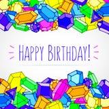 Вектор самоцветов doodle шаржа с днем рождения иллюстрация вектора