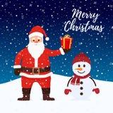 Вектор Санта Клаус, снеговик ночью рождества иллюстрация штока