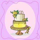 Вектор свадебного пирога 2 ярусов Стоковые Фото