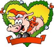 вектор свиньи иллюстрации рождества тучный счастливый Стоковая Фотография RF