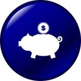 вектор свиньи монетки кнопки банка голубой Стоковое фото RF