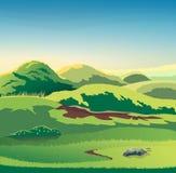 Вектор сезона холмов природы Бесплатная Иллюстрация