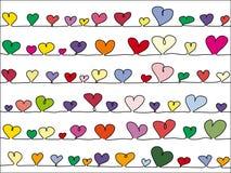 вектор сердец предпосылки цветастый Стоковое Изображение