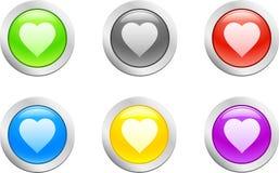 вектор сердца кнопки Стоковая Фотография RF
