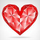 Вектор сердца диаманта красным изолированный значком Стоковая Фотография RF