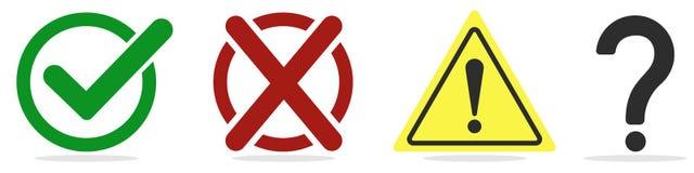 вектор сетки характера установленный Контрольная пометка, крест, восклицательный знак и вопрос на белизне иллюстрация штока