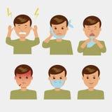 вектор сетки характера установленный Различные тягостные симптомы в человеке Стоковые Изображения