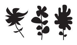вектор силуэта завода цветка Стоковые Изображения