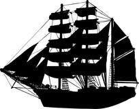 вектор силуэта корабля парусника Стоковые Изображения RF