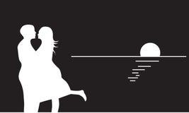 вектор силуэта пар романтичный Стоковое Изображение