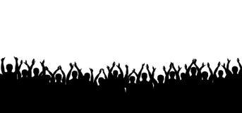Вектор силуэта толпы рукоплескания Люди аплодируя Жизнерадостная хлопая партия белизна изолированная предпосылкой иллюстрация вектора