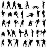 вектор силуэтов бой установленный людьми иллюстрация вектора