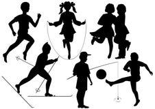 вектор силуэтов детей Стоковая Фотография RF