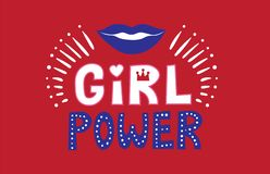 Вектор силы девушки Лозунг и губы женщины мотивационный Для футболок, плакаты, карты иллюстрация штока