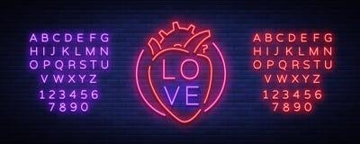 Вектор символа влюбленности Неоновая вывеска на теме дня валентинки s Пламенеющее знамя для приветствий, листовка, рогулька яркое Стоковая Фотография RF