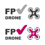 Вектор символа контрольной пометки трутня FPV Стоковая Фотография RF